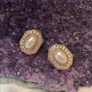 P.E.P. Vintage Octagonal Pearl Rhinestone Earrings